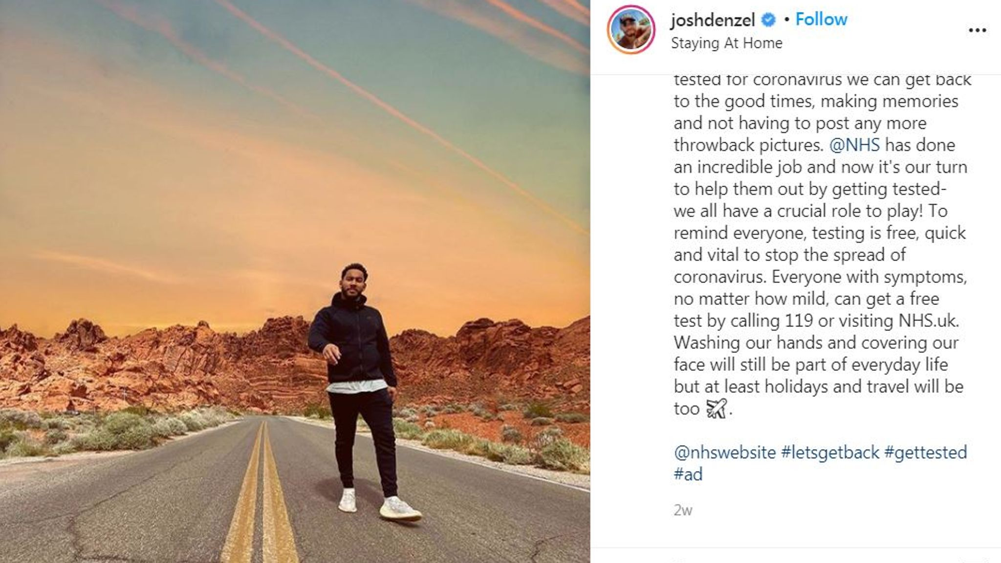 Former Love Island contestant Josh Denzel urged his followers to get tested if they had symptoms. Pic: Instagram/Josh Denzel