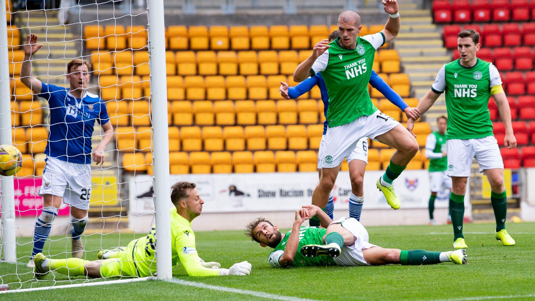 Hibernian's Christian Doidge has his goal disallowed for handball