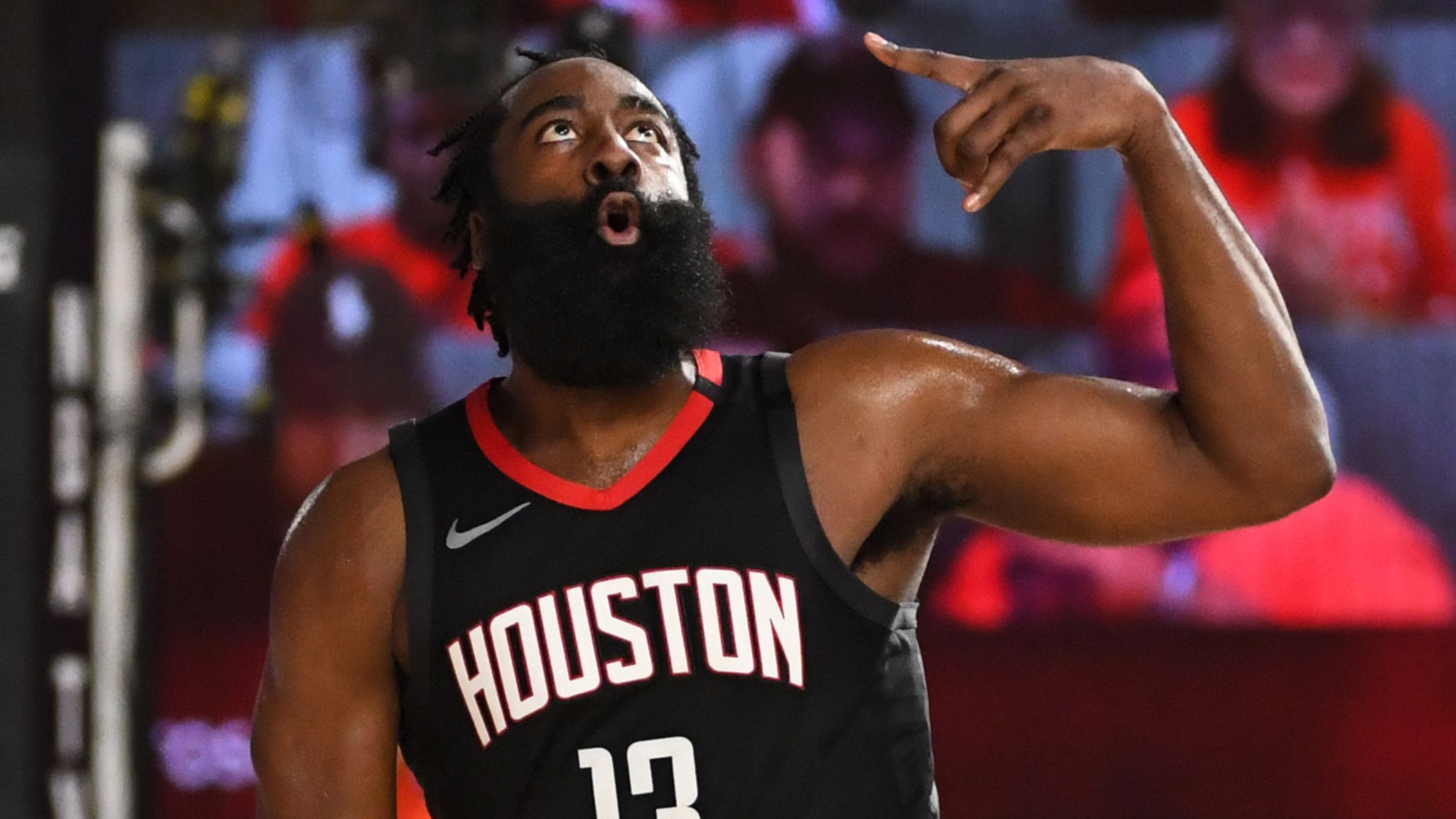 James Harden celebrates a three-pointer during Houston's Game 1 win over Oklahoma City
