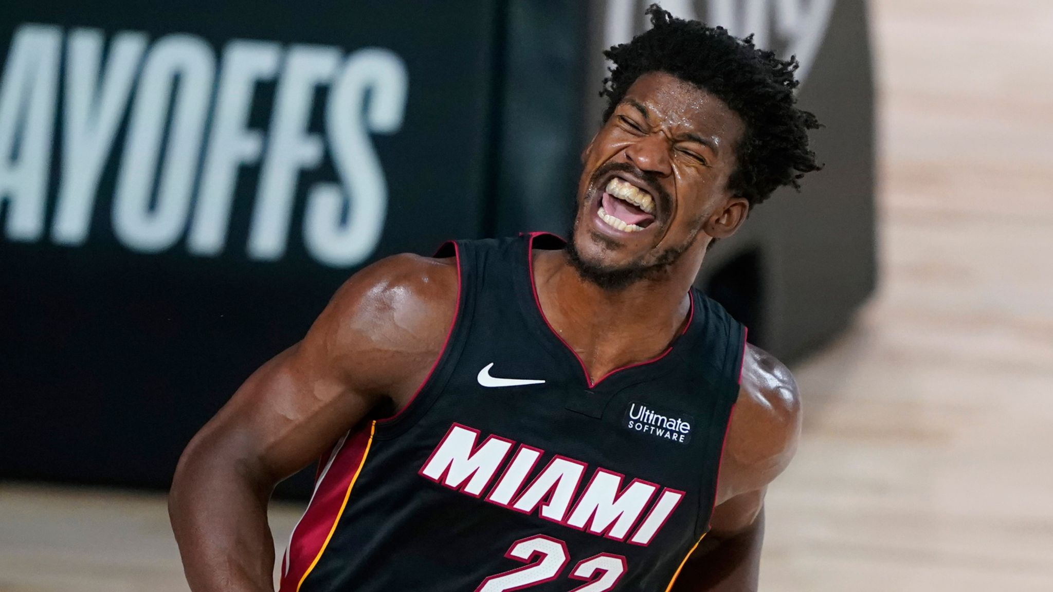 Jimmy Butler celebrates after throwing down a dunk in the Heat's Game 1 win over the Pacers