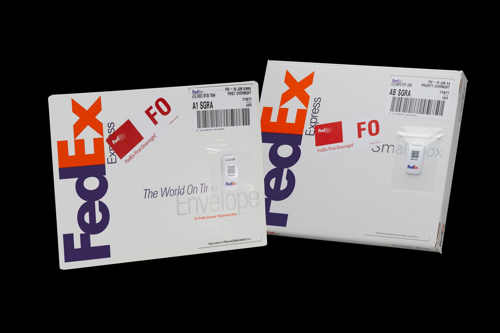fedex packages with tags