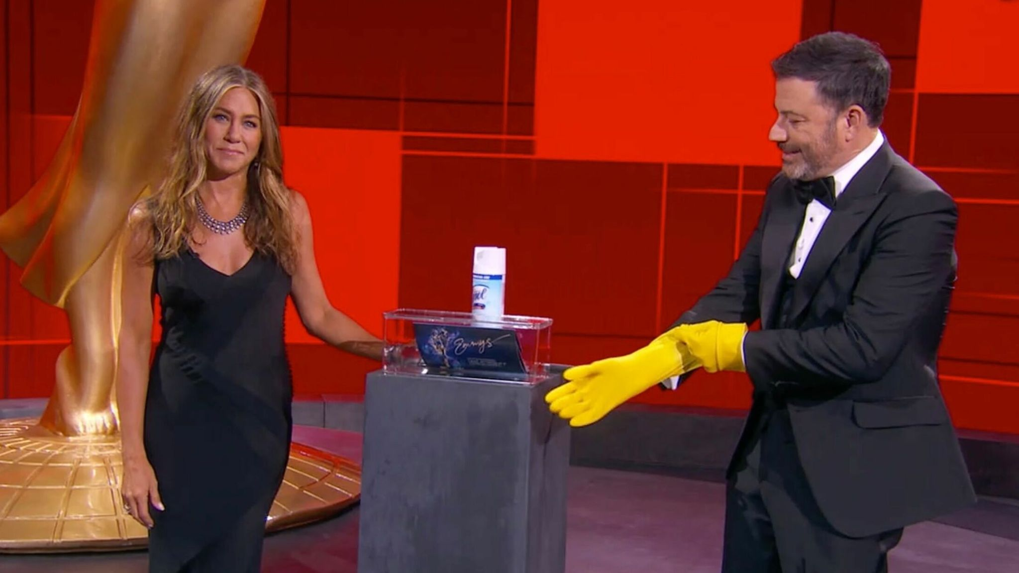 Coronavirus was mentioned a few times - host Jimmy Kimmel with nominee Jennifer Aniston at the Emmys