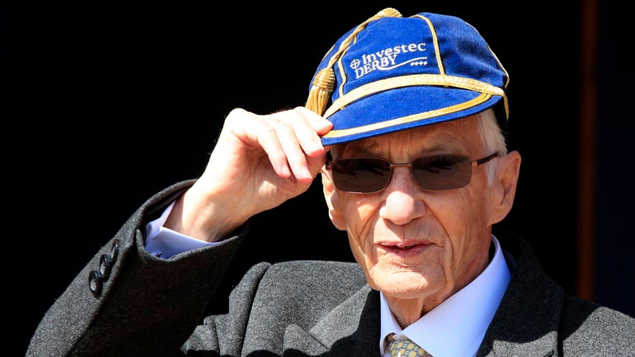 Lester Piggott sports the new Derby cap at Epsom.