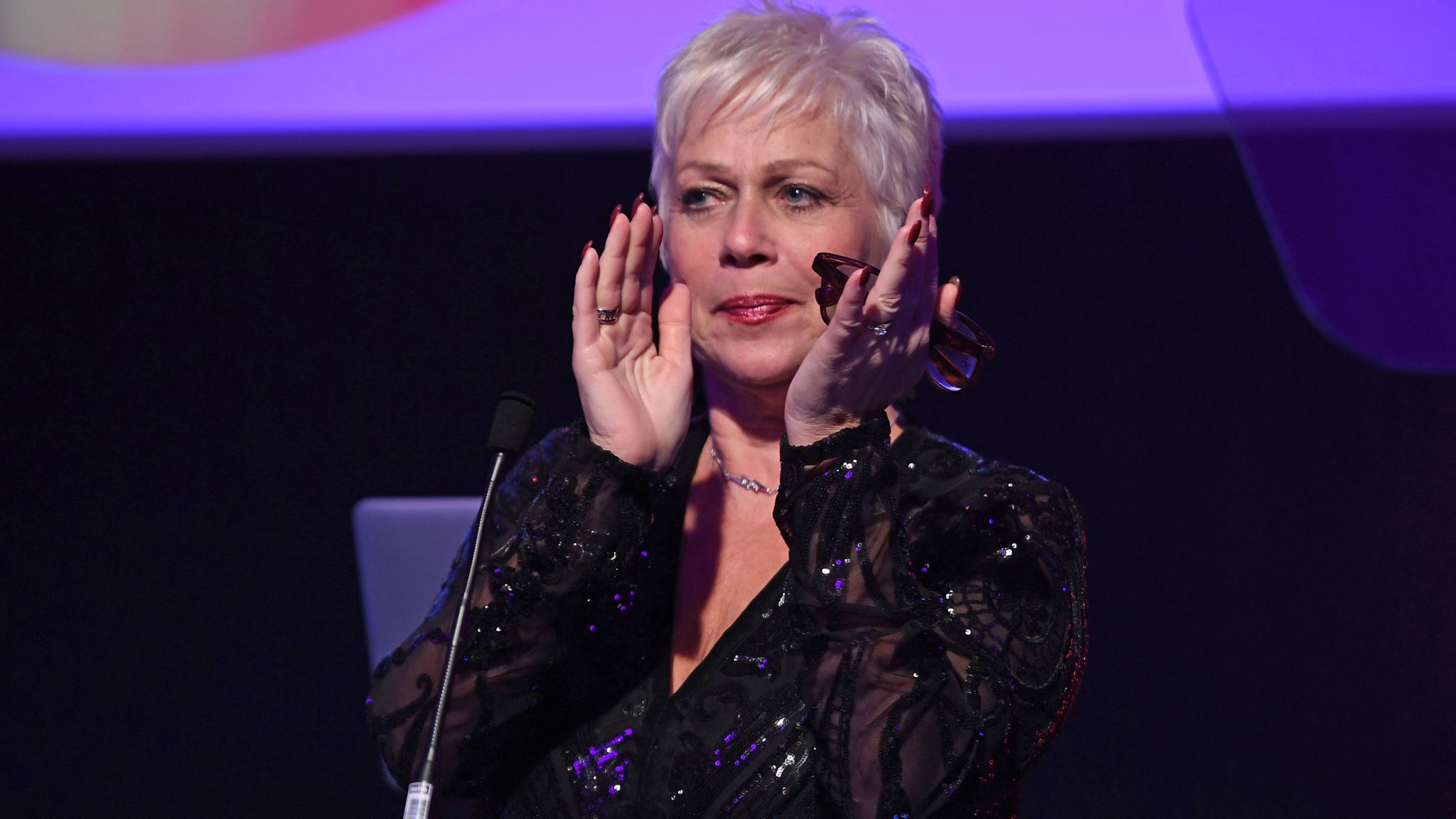 Denise Welch on stage to present the 'Charity' award at the Rainbow Honours 2019 at Madame Tussauds on December 04, 2019 in London, England
