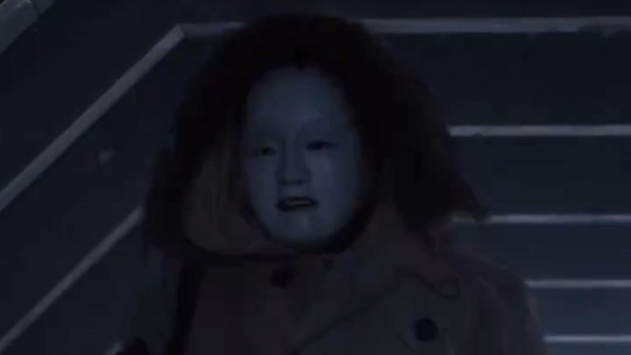 A creepy Kabuki mask hides the shooter. Pic: Universal