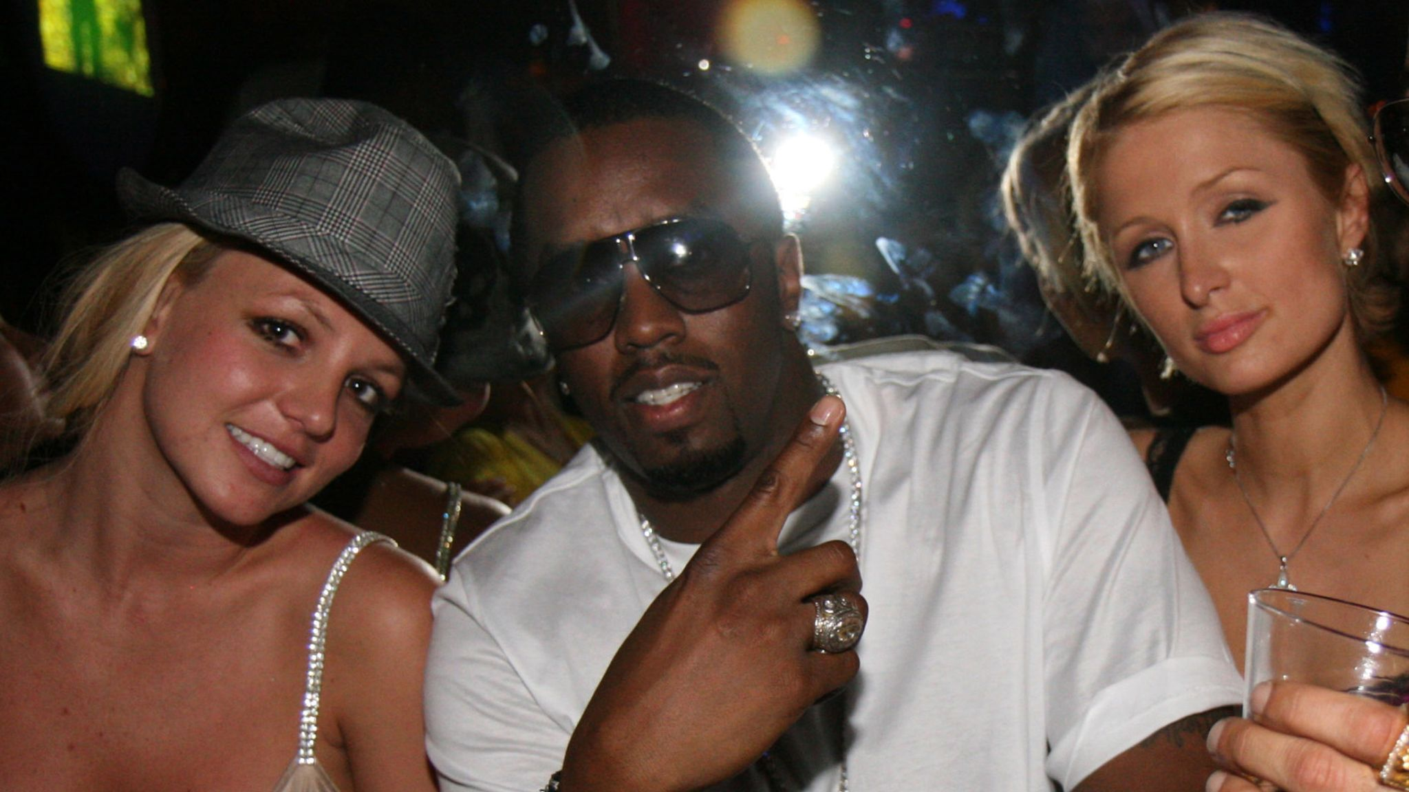 """Britney Spears, Sean """"Diddy"""" Combs, Paris Hilton and Dallas Austin attend 50 Cent Hosts Party at The Hard Rock on September 8, 2007 in Las Vegas, NV"""