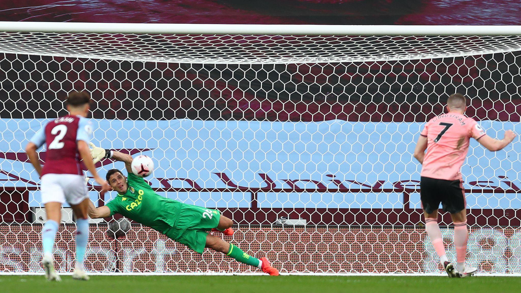 Emiliano Martinez saves John Lundstram's penalty
