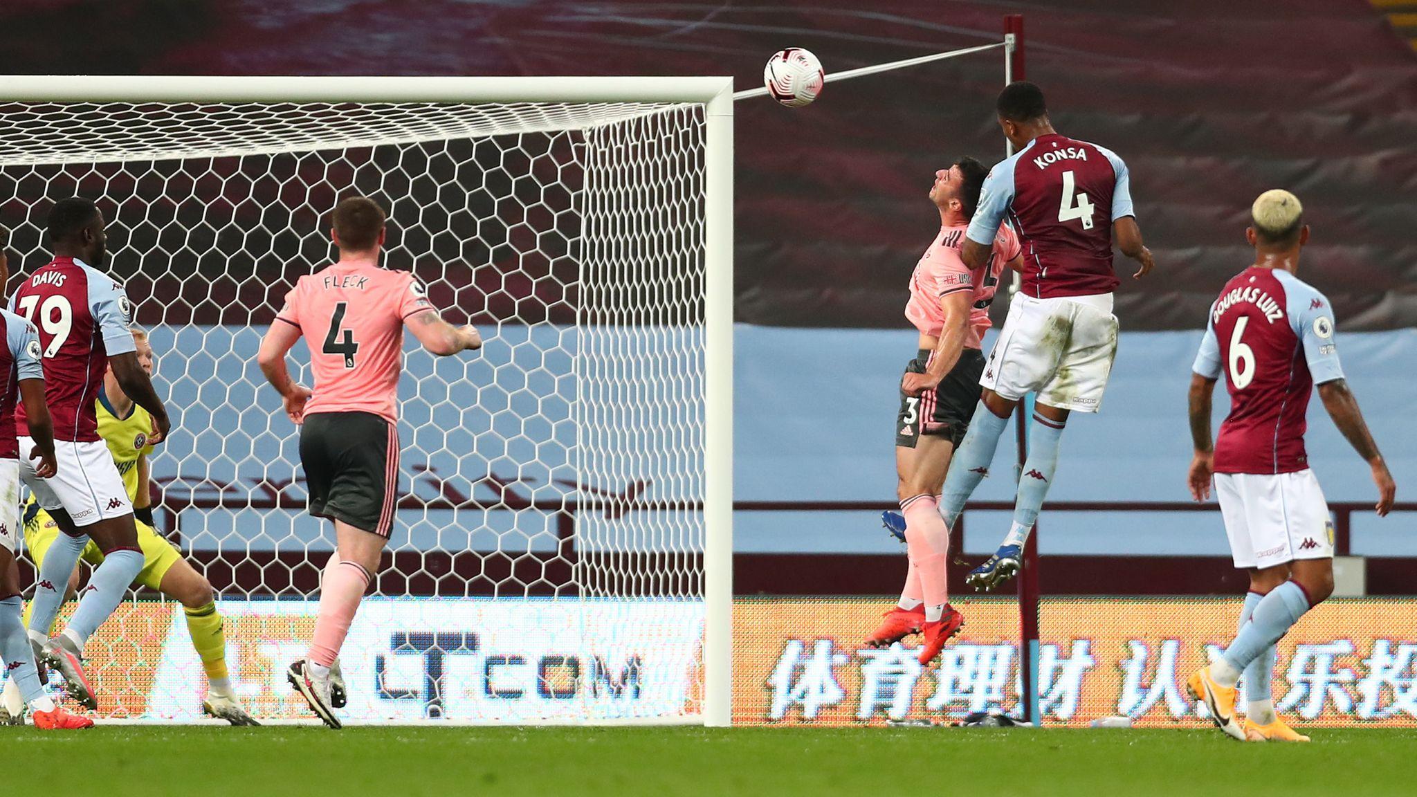 Ezri Konsa heads Villa into a 1-0 lead against Sheffield United