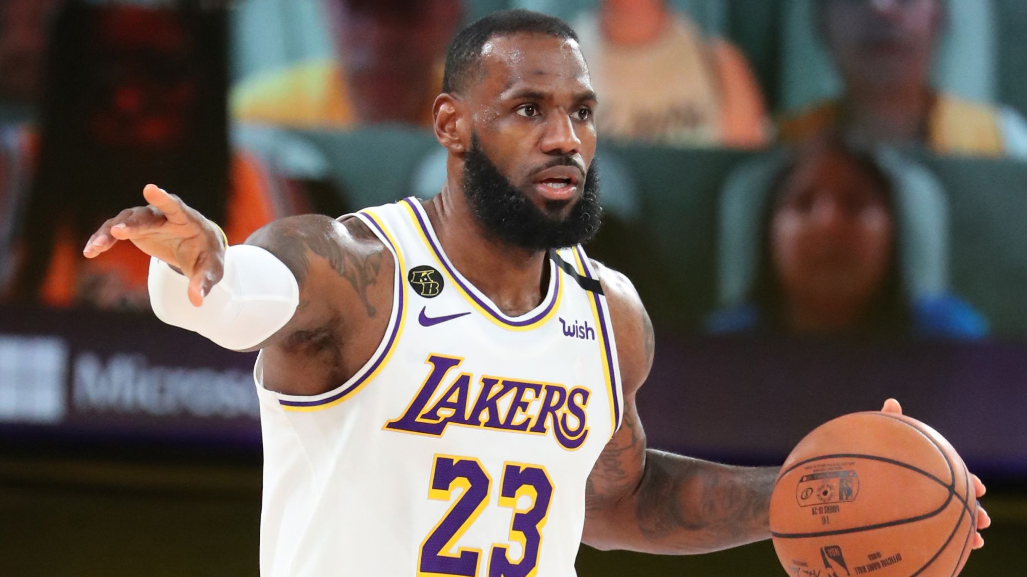 LeBron James directs the Lakers; offense during Game 5 against the Rockets