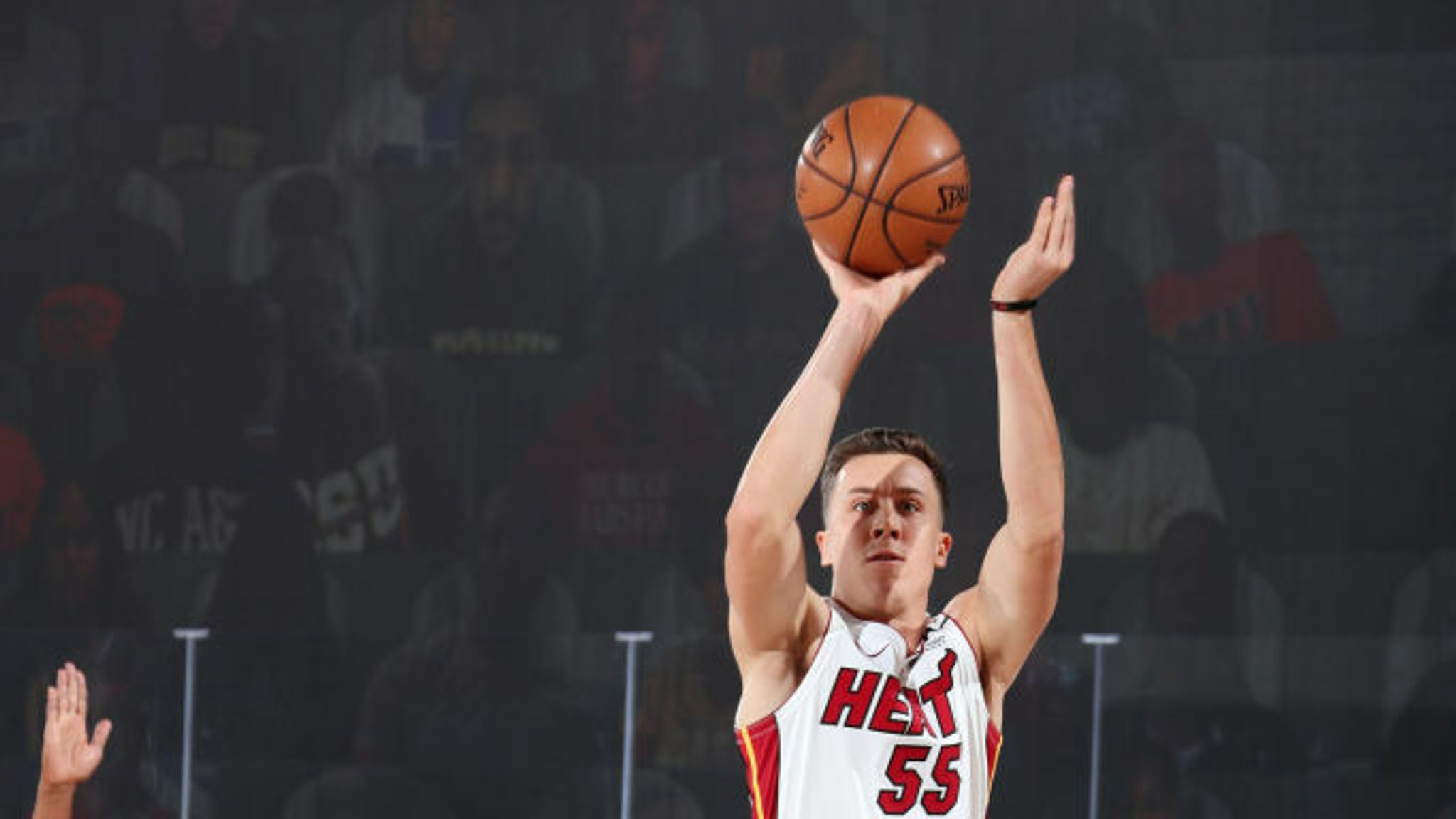 Duncan Robinson #55 of the Miami Heat shoots a three point basket during the game against the Boston Celtics during Game Two of the Eastern Conference Finals of the NBA Playoffs on September 17, 2020 at The AdventHealth Arena at ESPN Wide World Of Sports Complex in Orlando, Florida.