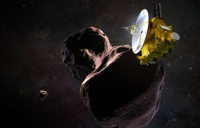 An illustration of the New Horizons spacecraft flying by the Kuiper Belt object Ultima Thule. (Credit: NASA / JPL / JHUAPL)