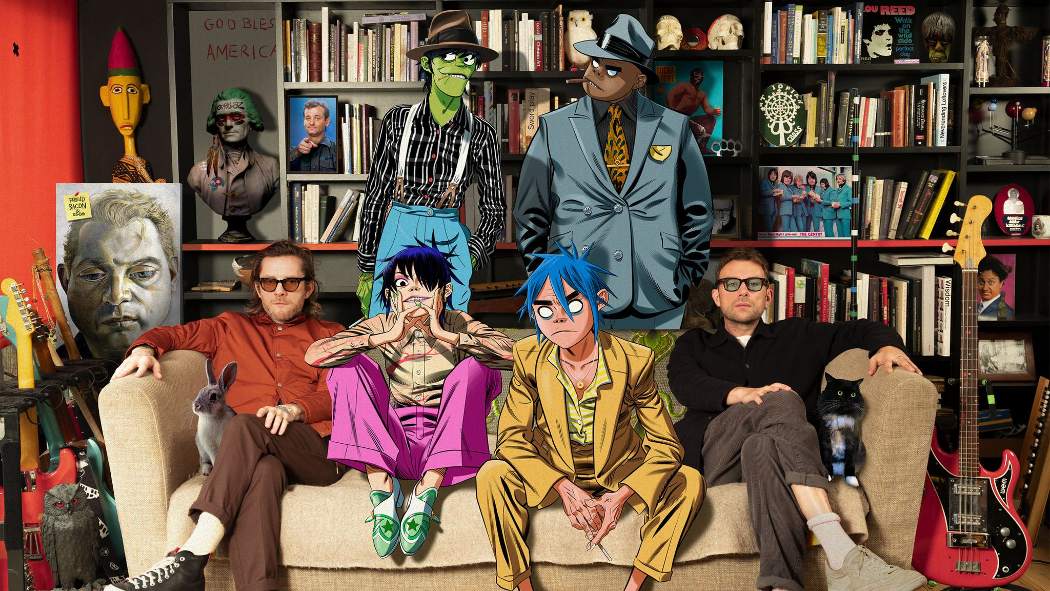 Damon Albarn and Jamie Hewlett, along with their cartoon creations Noodle, 2D, Murdoc and Russel. Pic: Gorillaz/Michael Leckie