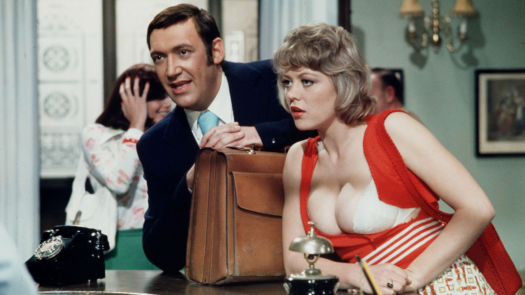 'Carry on Girls' Bernard Bresslaw and Margaret Nolan (Dawn Brakes). Pic: ITV/Shutterstock
