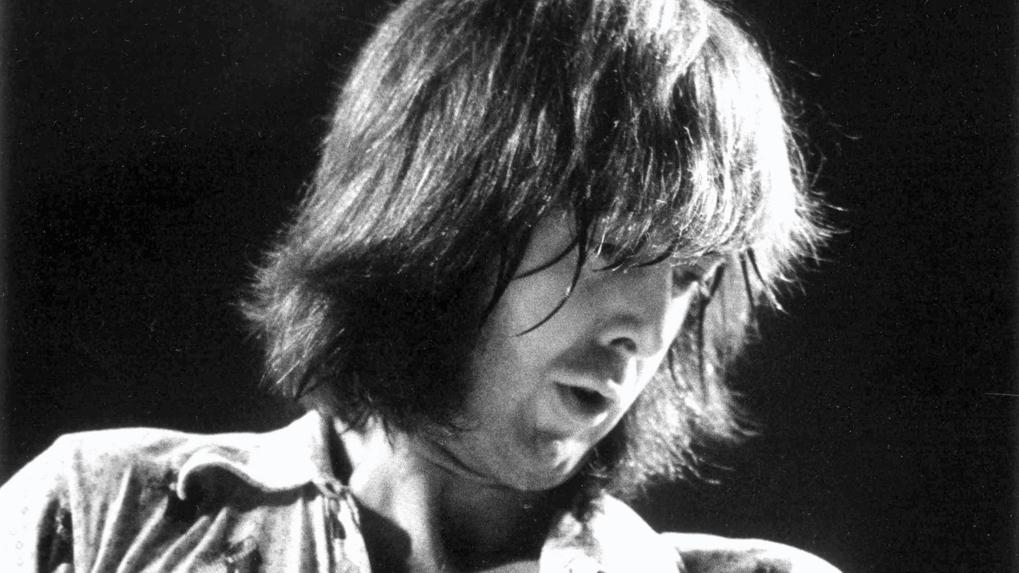 Spencer Davis, performing live on stage at Alexandra Palace, London on 2nd August 1973