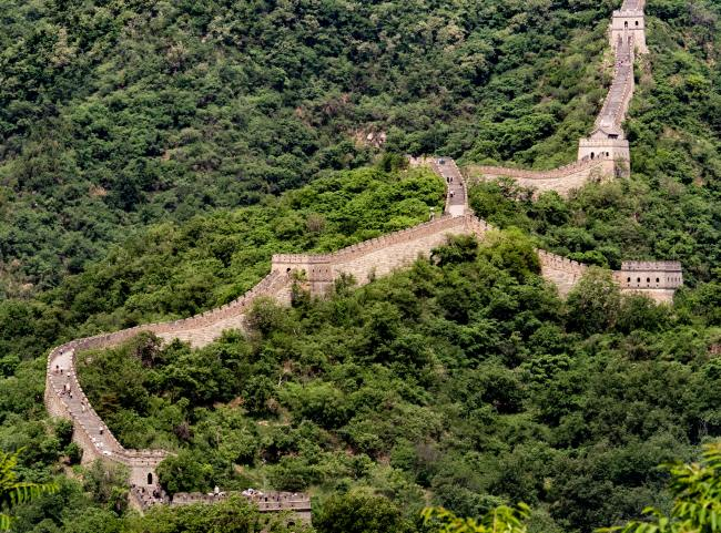 Great wall expanse against tree background China - unsplash