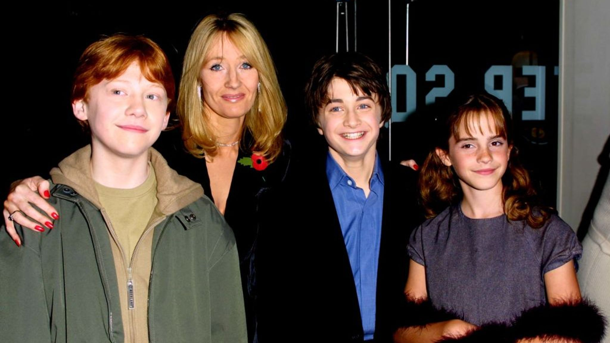 Harry Potter author JK Rowling with stars Rupert Grint, Daniel Radcliffe and Emma Watson