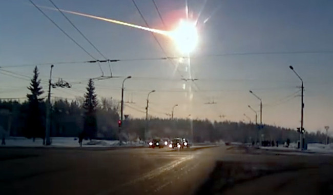 The 2013 explosion over Chelyabinsk, Russia, was caused by an asteroid about 20 meters wide. And even those small impactors are once-in-a-century events. (Credit: Alexandr Ivanov)