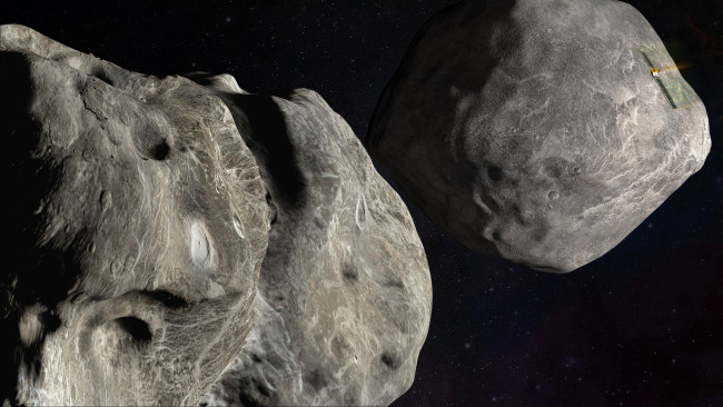In the fall of 2022, the DART spacecraft will execute a high-speed collision with 160-meter-wide asteroid Dimorphos, seen here orbiting its larger companion, Didymos. (Credit: NASA/Johns Hopkins APL)