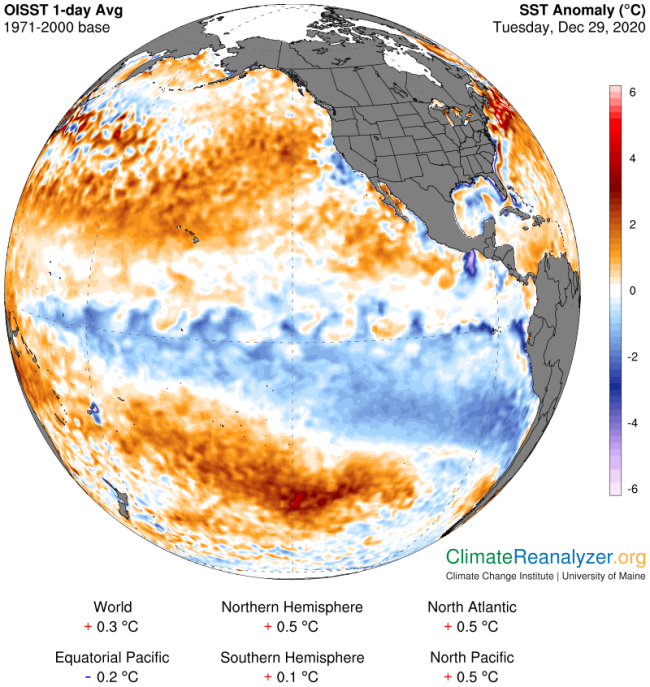 Seas Surface Temperature Anomalies in the Pacific Ocean