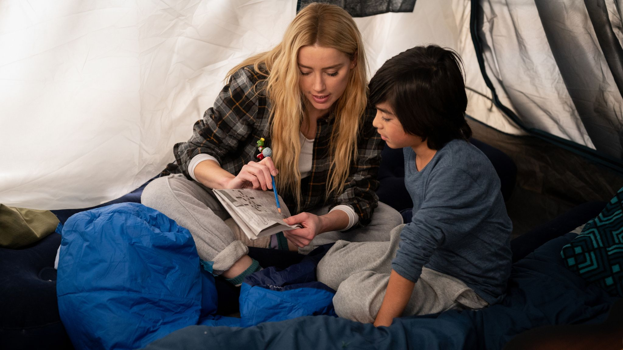 Amber Heard as Nadine Cross and Gordon Cormier as Joe In The Stand. Pic: Robert Falconer/CBS