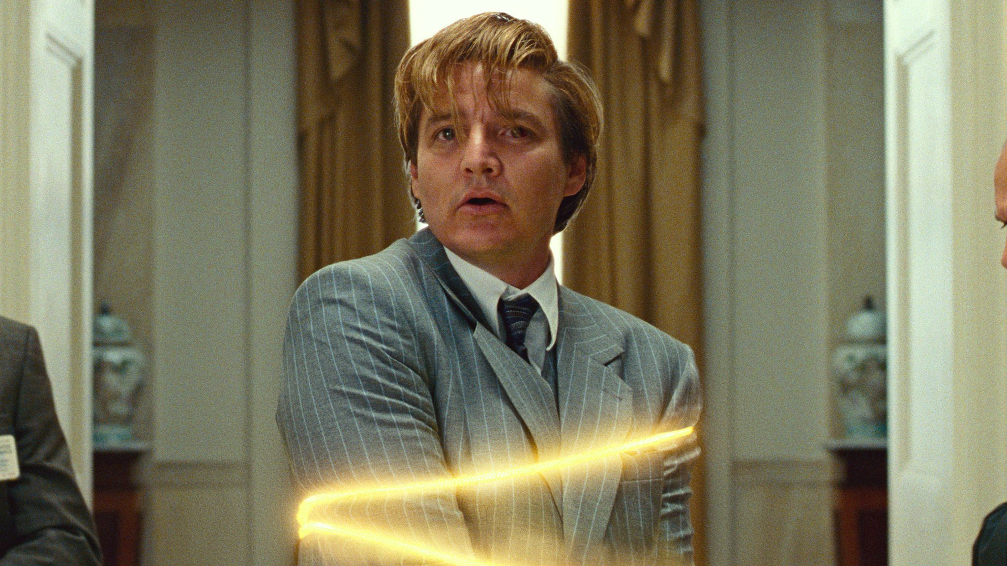 Pedro Pascal is gloriously evil as Max Lord. Pic: Warner Bros