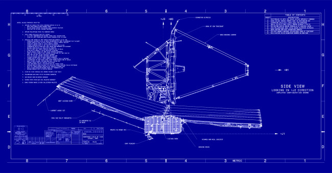 Blueprints of the James Webb Space Telescope capture some of the vast complexity and power of the enormous observatory. (Credit: NASA)
