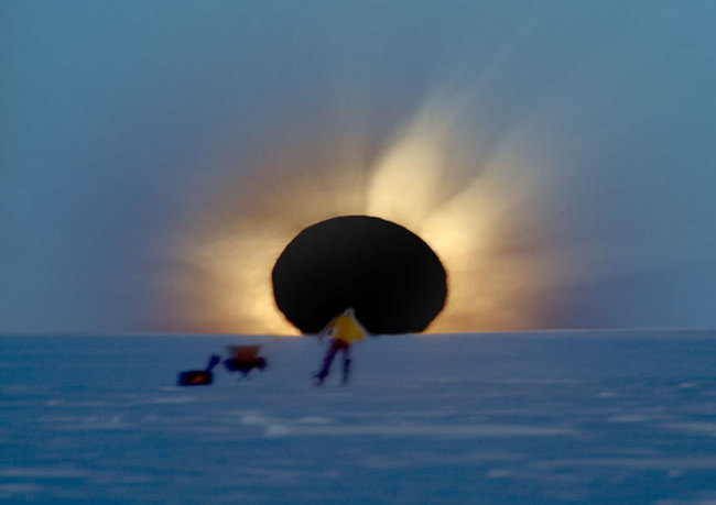 The 2003 Antarctic solar eclipse yielded this amazing photo by Fred Bruenjes; this year's eclipse should be similarly photogenic. (Credit: Fred Bruenjes)