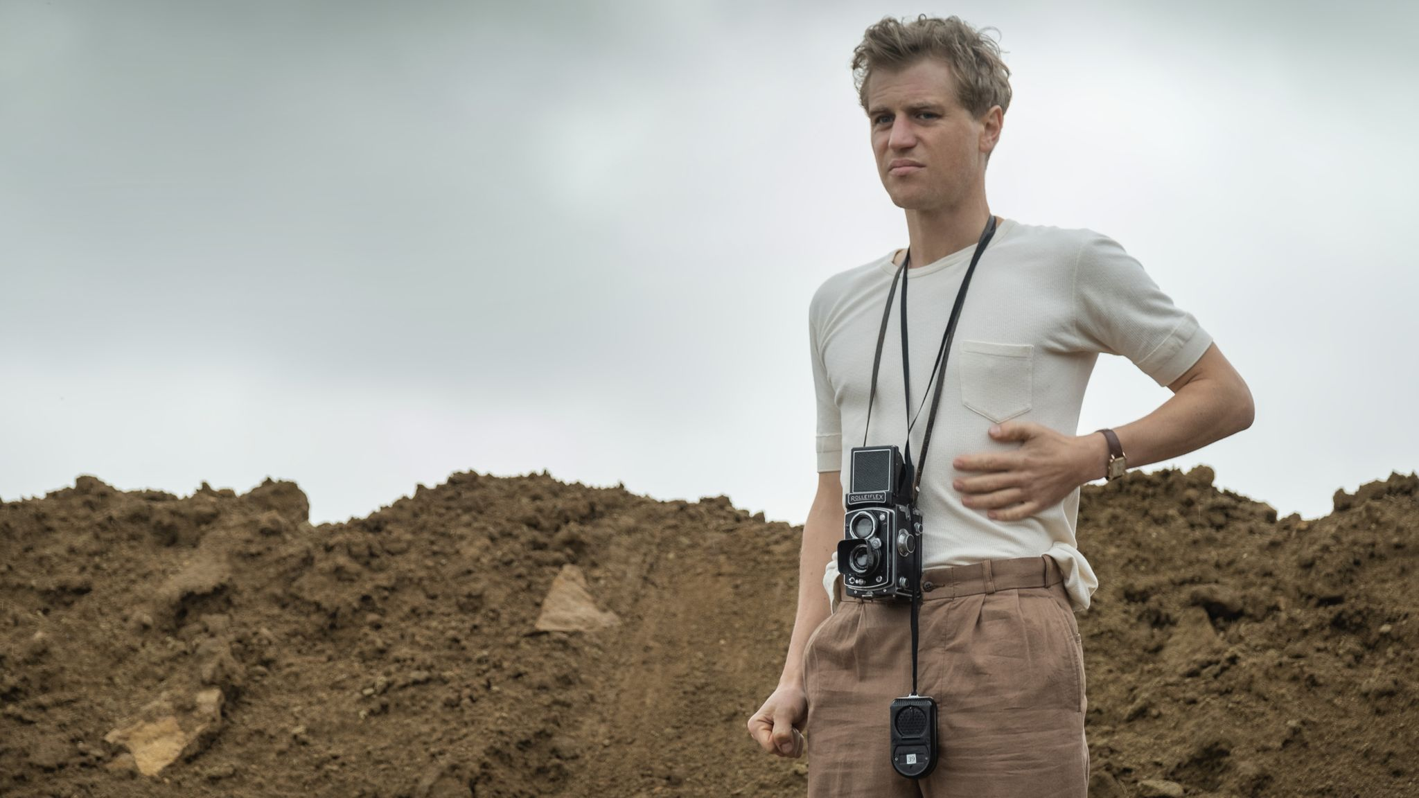 Flynn as Rory Lomax in archaeological drama The Dig. PIC: Netflix