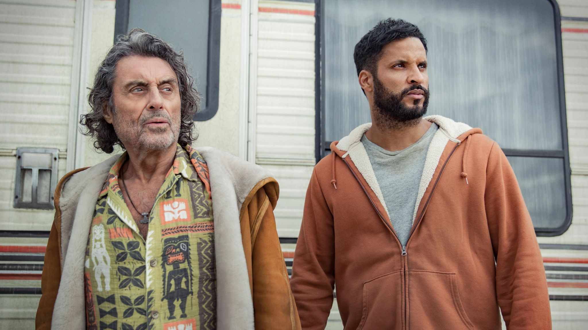 Ian McShane and Ricky Whittle in American Gods. Pic: Prime Video