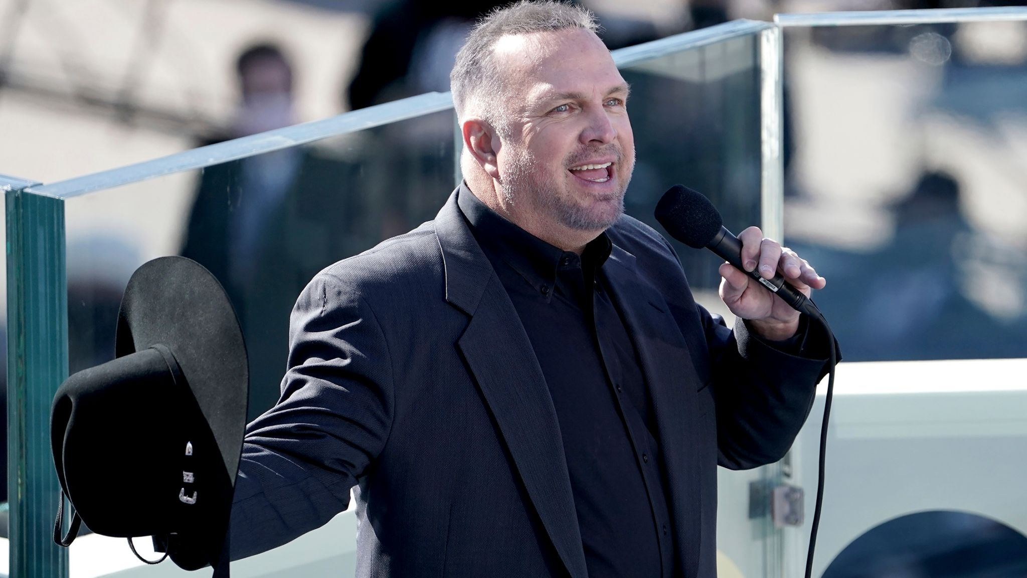 Garth Brooks performed at the ceremony. Pic: AP