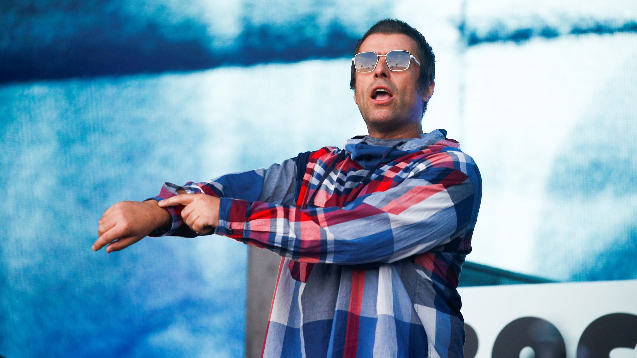 Liam Gallagher on stage at Glastonbury 2019