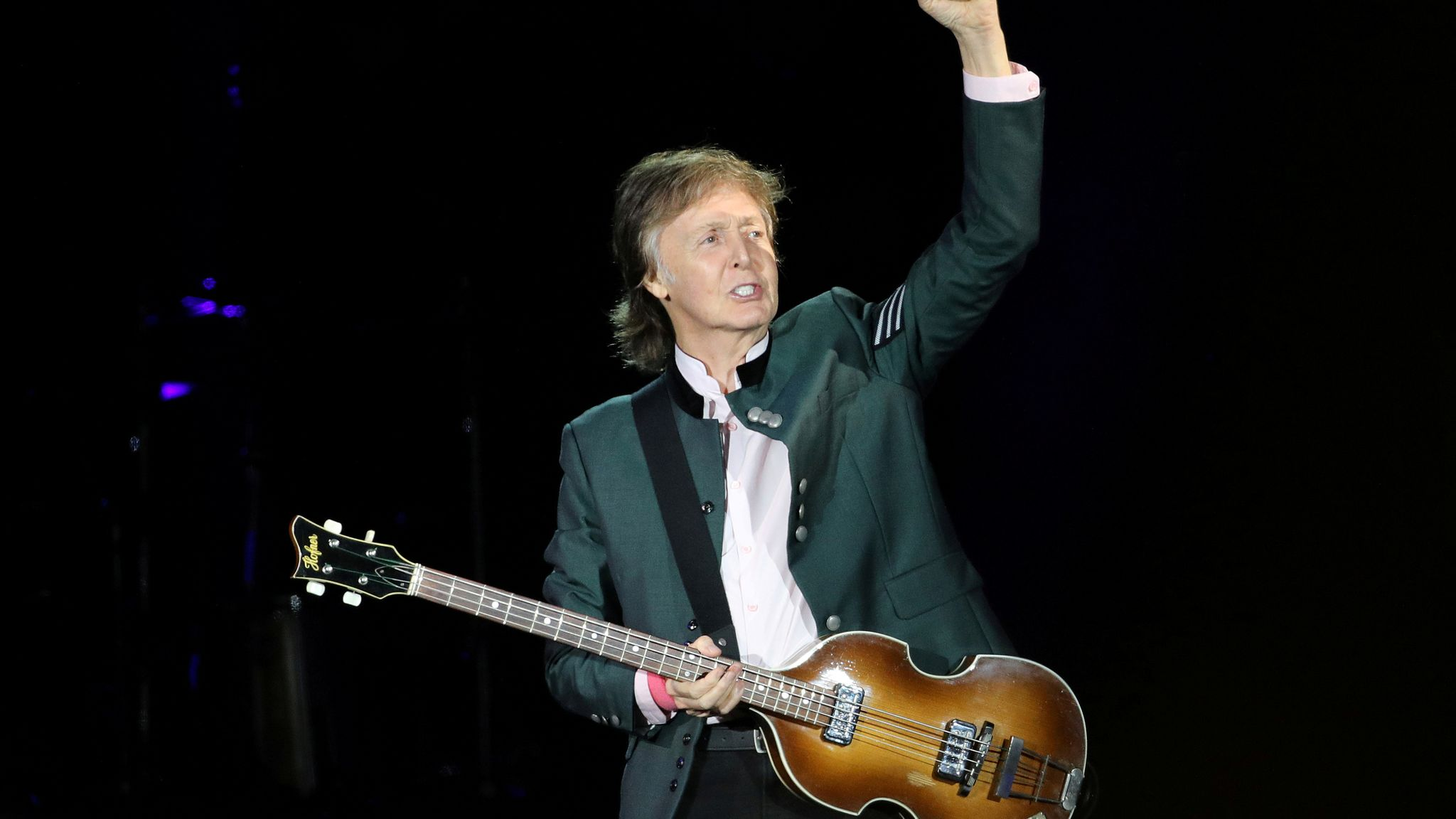 "British musician Paul McCartney performs during the ""One on One"" tour concert in Porto Alegre, Brazil October 13, 2017"