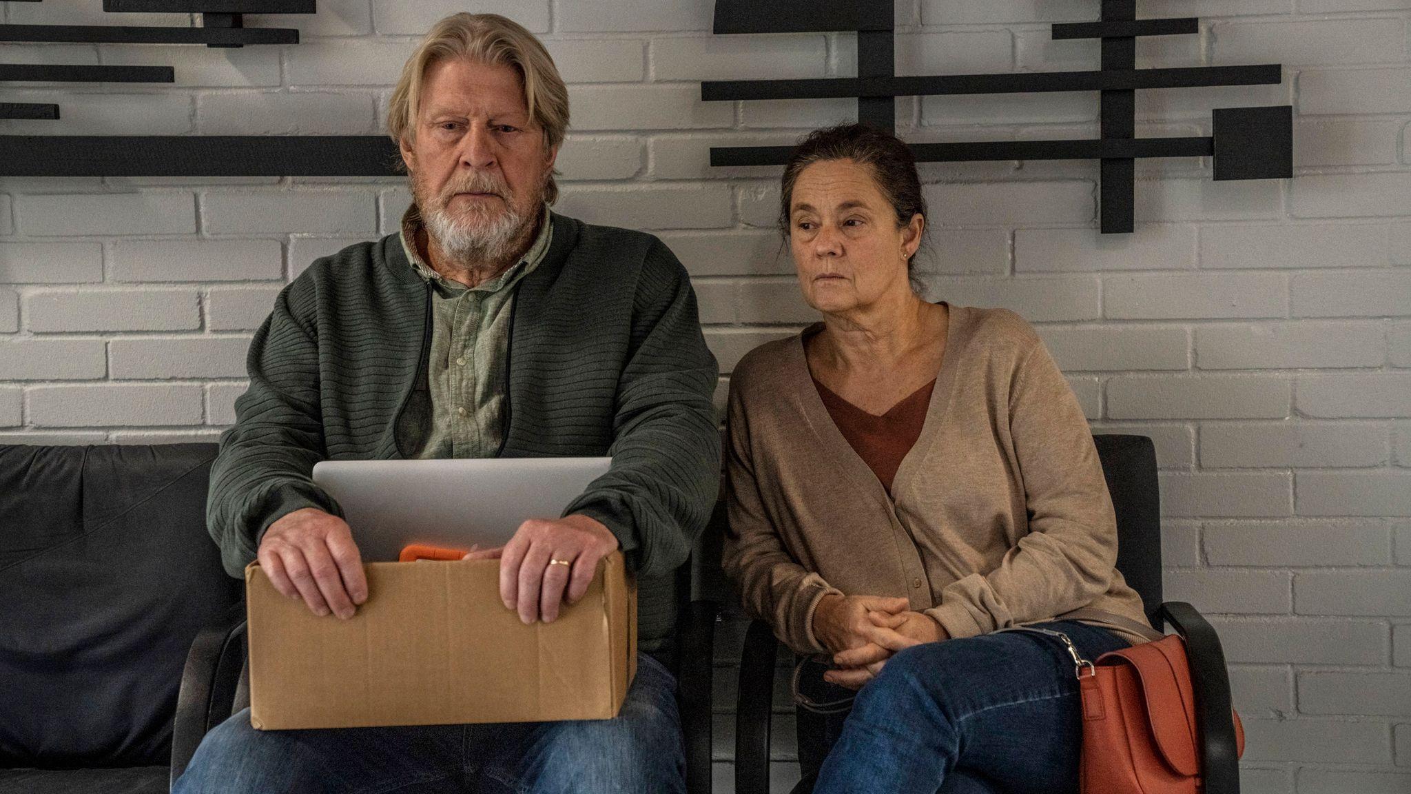 Joachim Wall (ROLF LASSGARD), Ingrid Wall (PERNILLA AUGUST) in The Investigation. Pic: BBC / misofilm & outline film / Per Arnesen