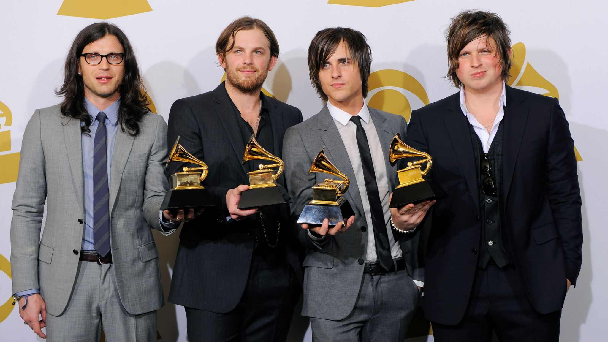 The Kings of Leon win record of the year for Use Somebody at the Grammys in 2010. Pic: AP