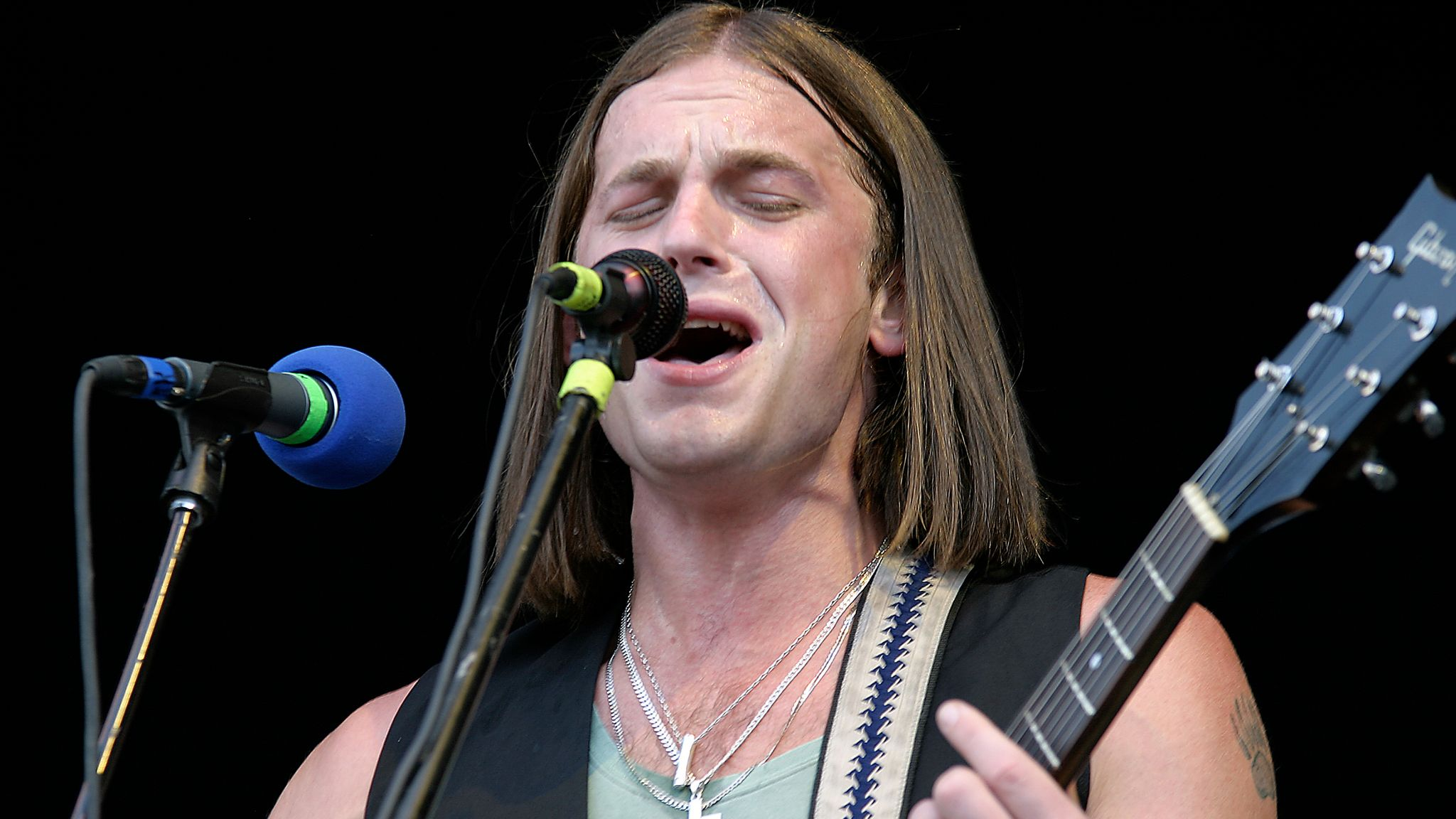 Caleb Followill of Kings Of Leon performs at the Bonnaroo Music Festival in Tennessee in 2007. Pic: AP