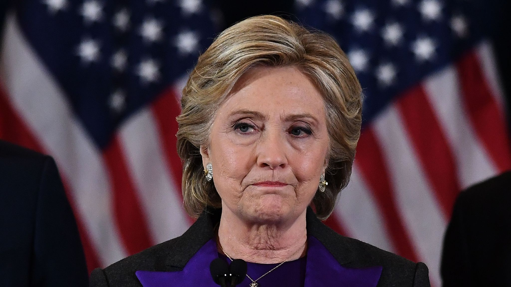 US Democratic presidential candidate Hillary Clinton makes a concession speech after being defeated by Republican president-elect Donald Trump in New York on November 9, 2016. / AFP PHOTO / JEWEL SAMAD (Photo credit should read JEWEL SAMAD/AFP via Getty Images)