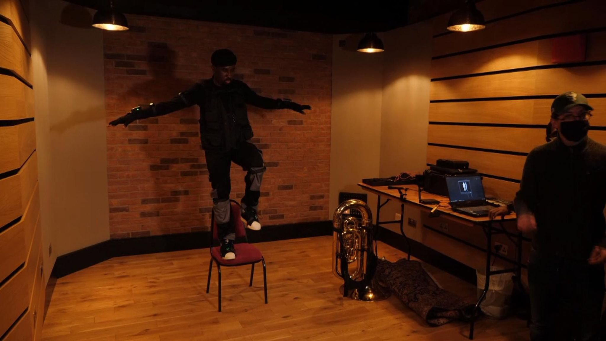 Theon Cross is turned into an avatar using motion capture technology at Abbey Road Studios