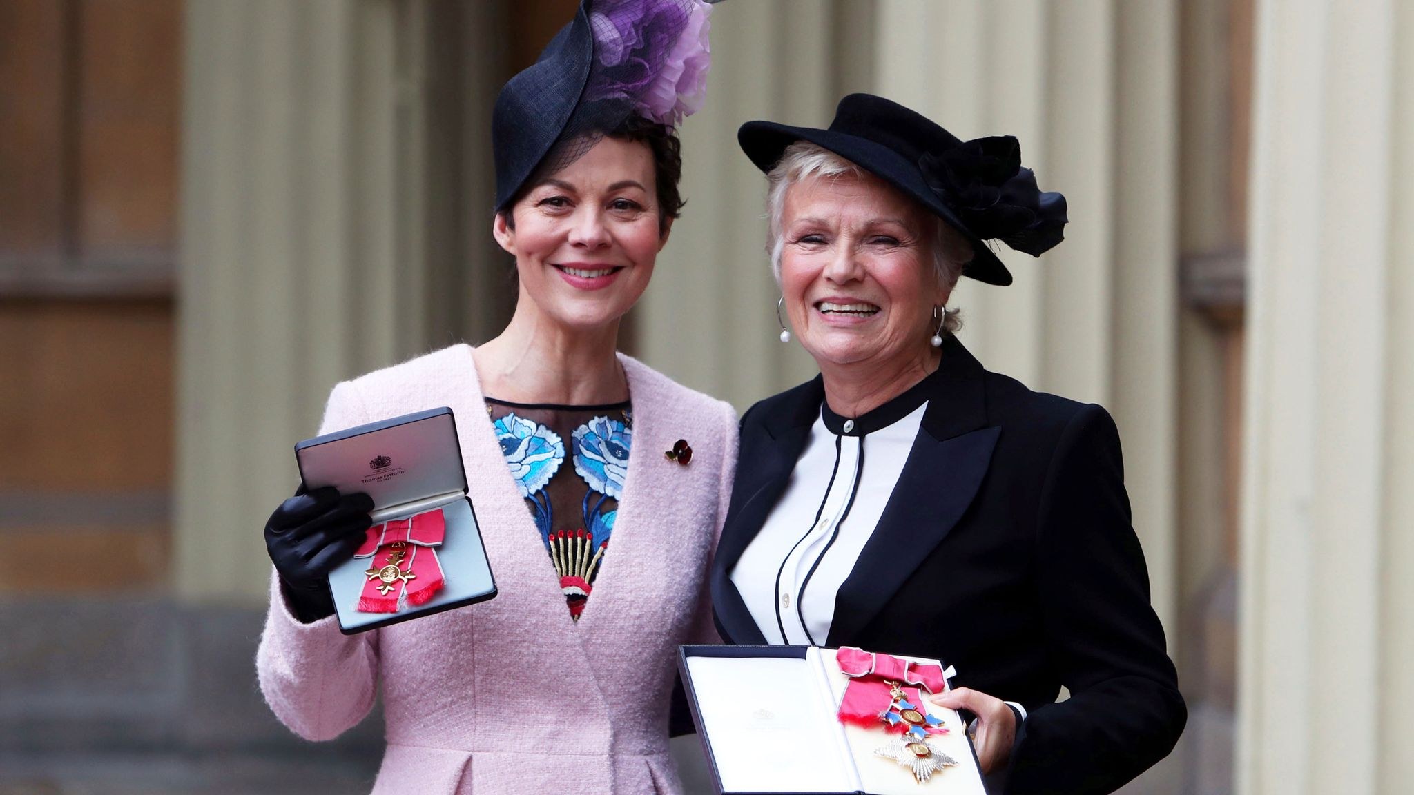Dame Julie Walters (right) and Helen McCrory after they awarded a Damehood and OBE respectively by Queen Elizabeth II at an Investiture ceremony at Buckingham Palace, London. PRESS ASSOCIATION Photo. Picture date: Tuesday November 7, 2017. See PA story ROYAL Investiture. Photo credit should read: Steve Parsons/PA Wire
