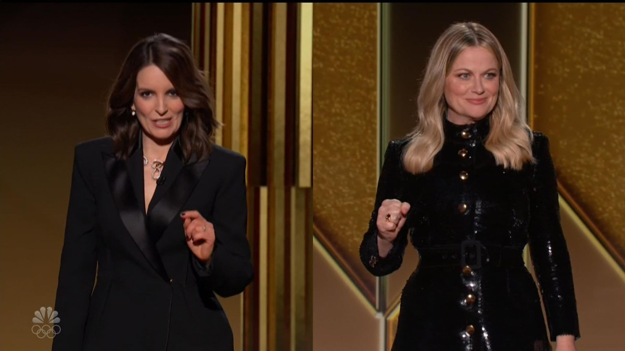 Tina Fey and Amy Poehler host the Golden Globes 2021. Pic: NBC