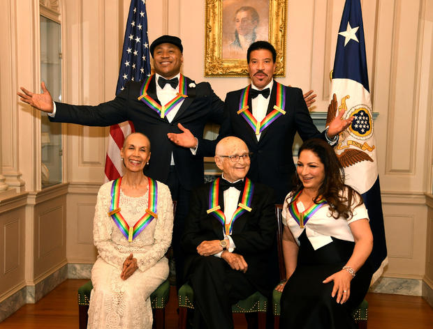 2017 Kennedy Center Honorees pose for a group photo after Gala Dinner at US State Dept.