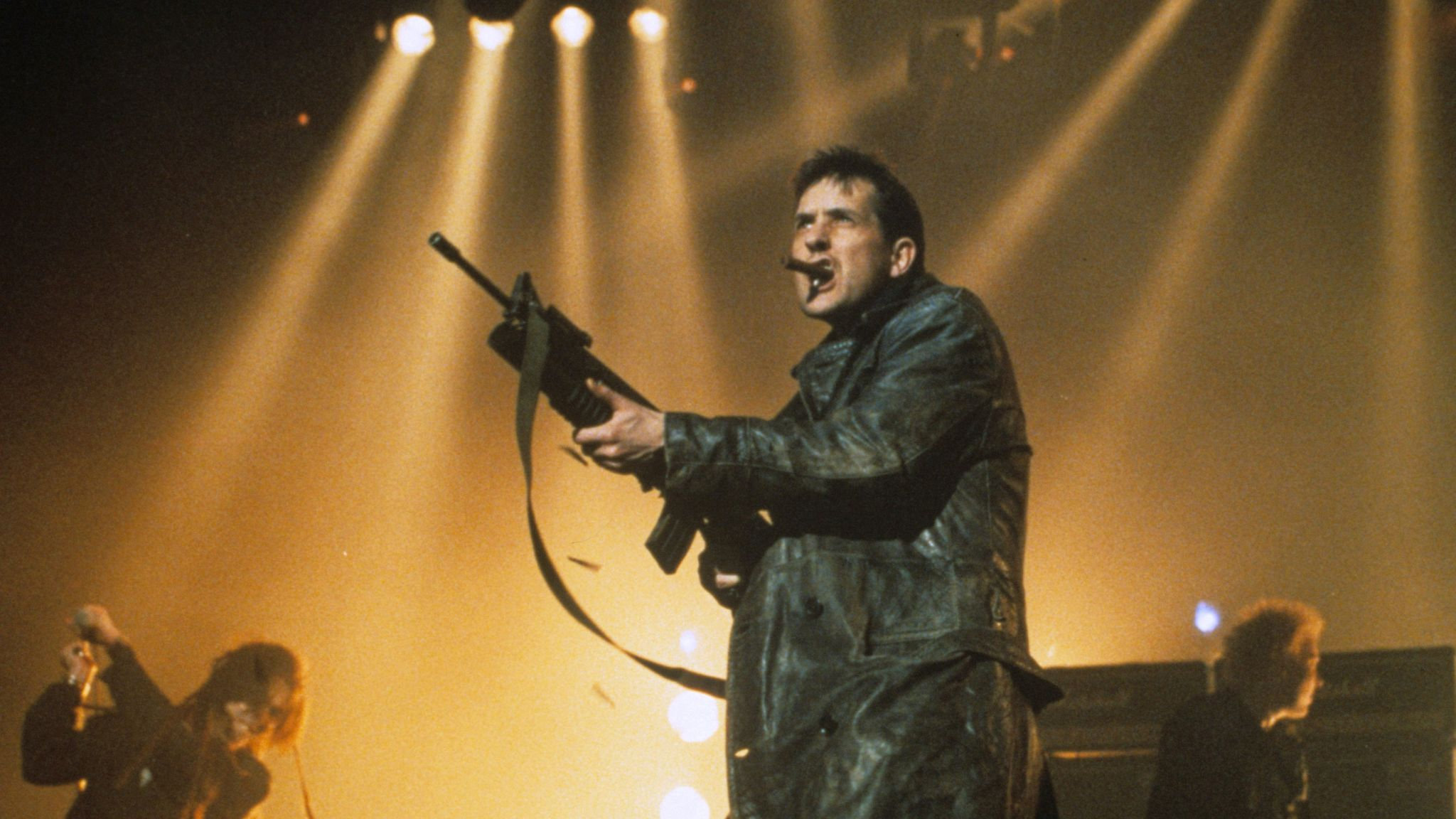 Bill Drummond performing with KLF and Extreme Noise Terror in 1992. Pic: Richard Young/Shutterstock