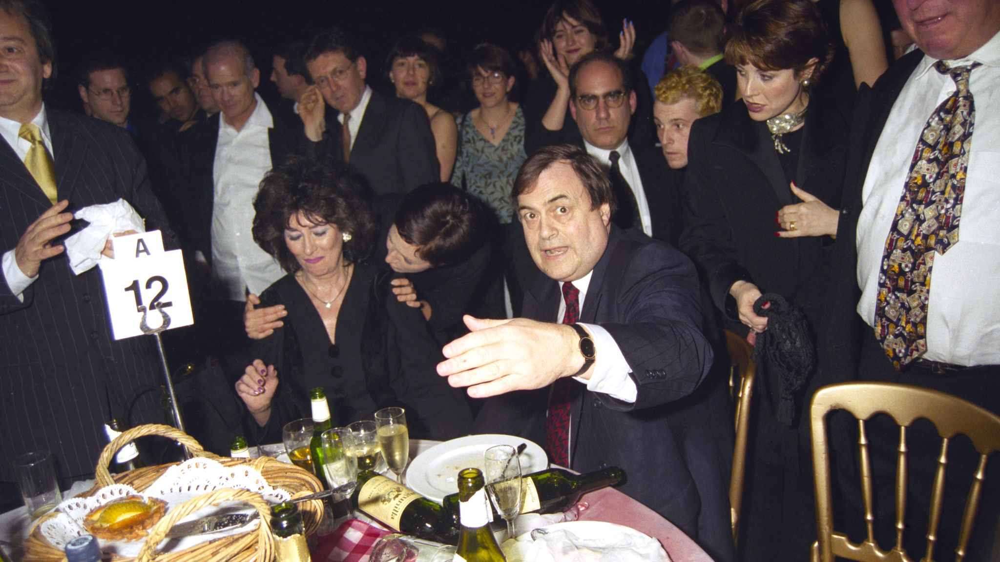 John Prescott and his wife Pauline Prescott, having just been doused with cold water by Danbert Nobacon of Chumbawumba in 1998