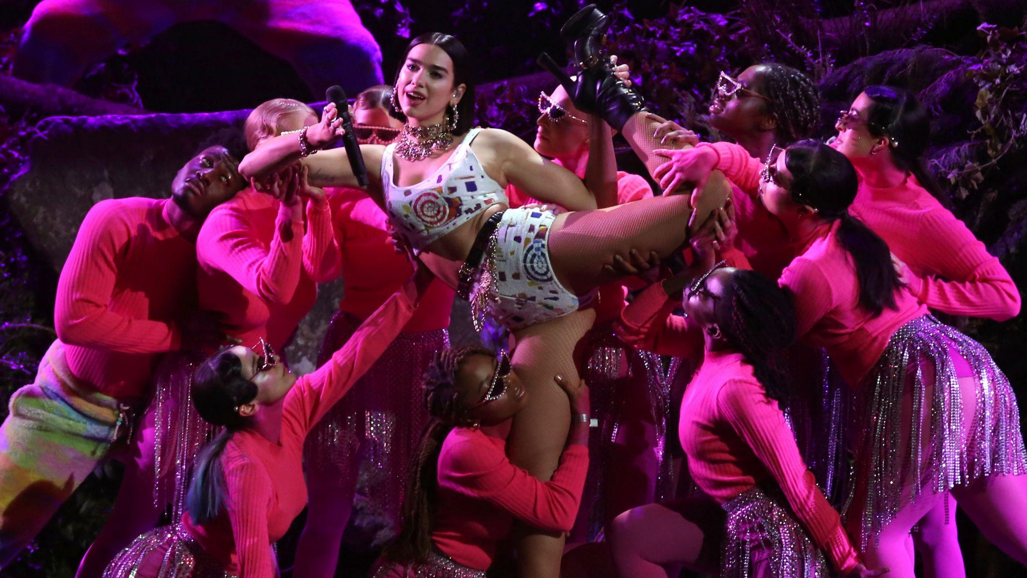 Dua Lipa performs at the Brit Awards in London in 2019. Pic: AP