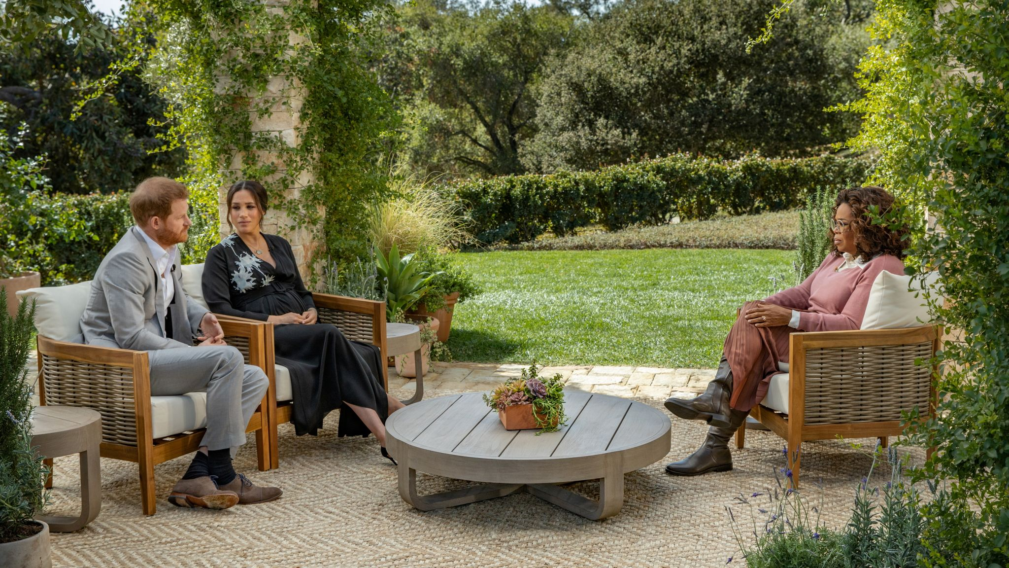 Meghan, Duchess of Sussex, and Prince Harry speak in their interview with Oprah Winfrey