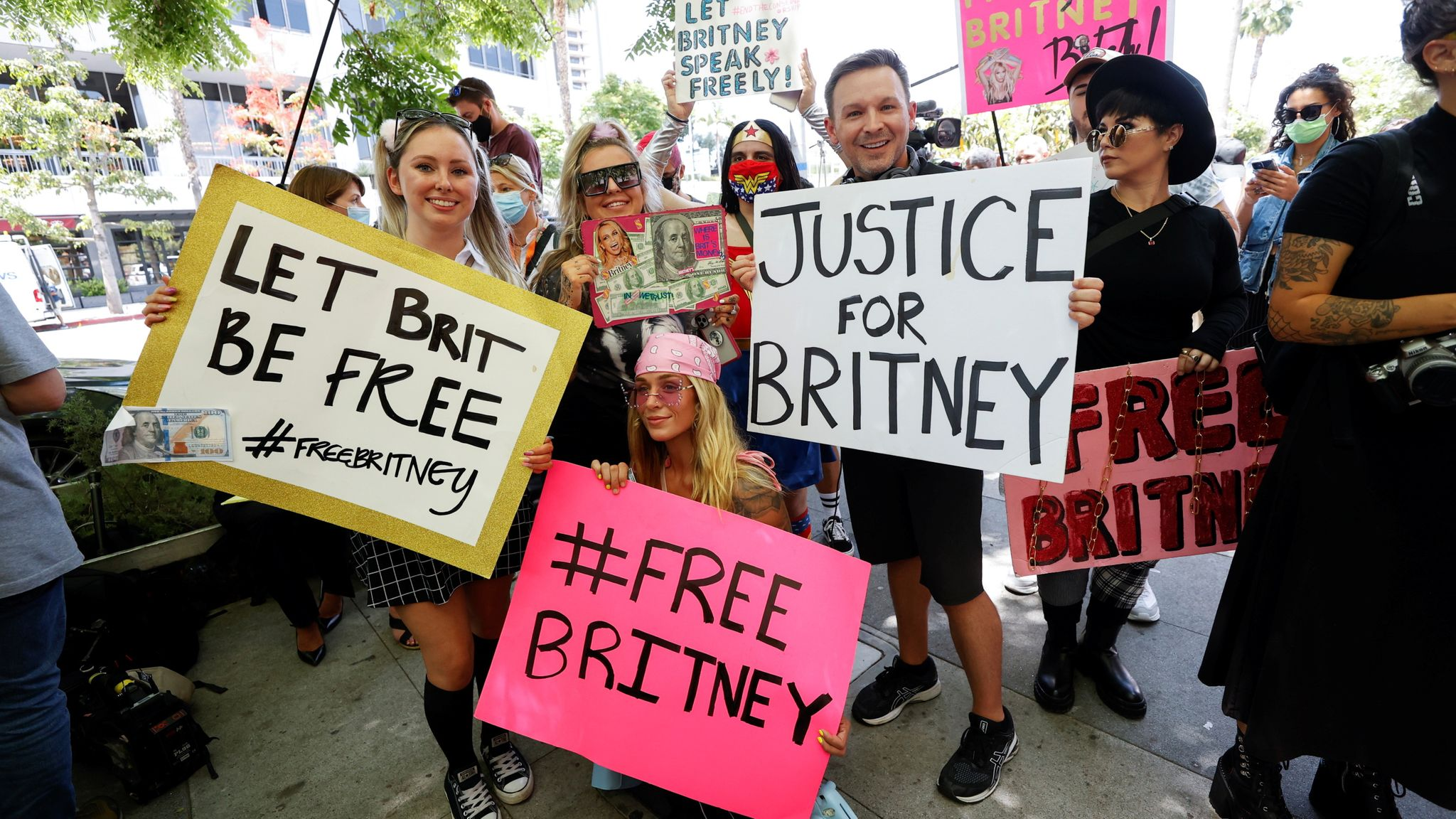 People protest in support of pop star Britney Spears on the day of a conservatorship case hearing at Stanley Mosk Courthouse in Los Angeles