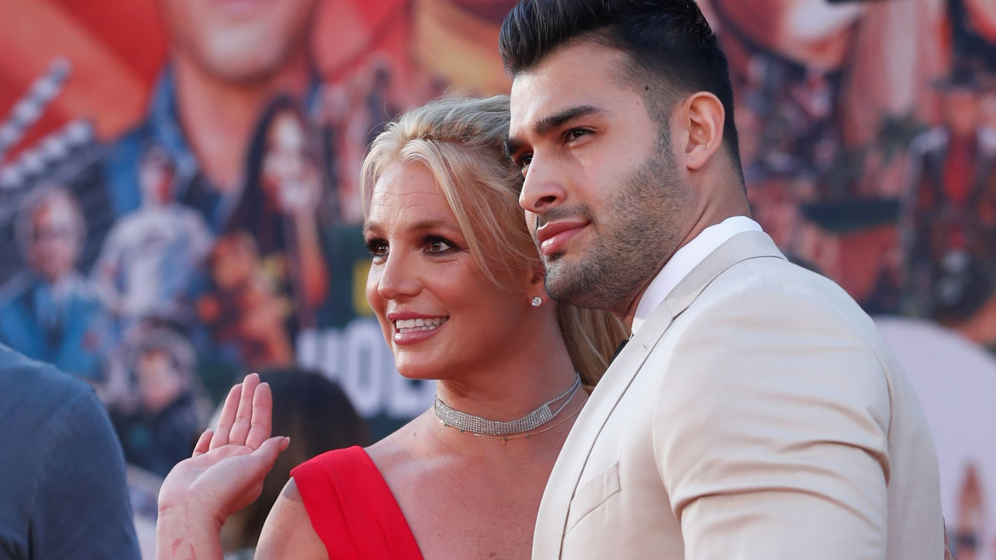 Britney Spears and Sam Asghari at the premiere of Once Upon A Time In Hollywood in LA in July 2019