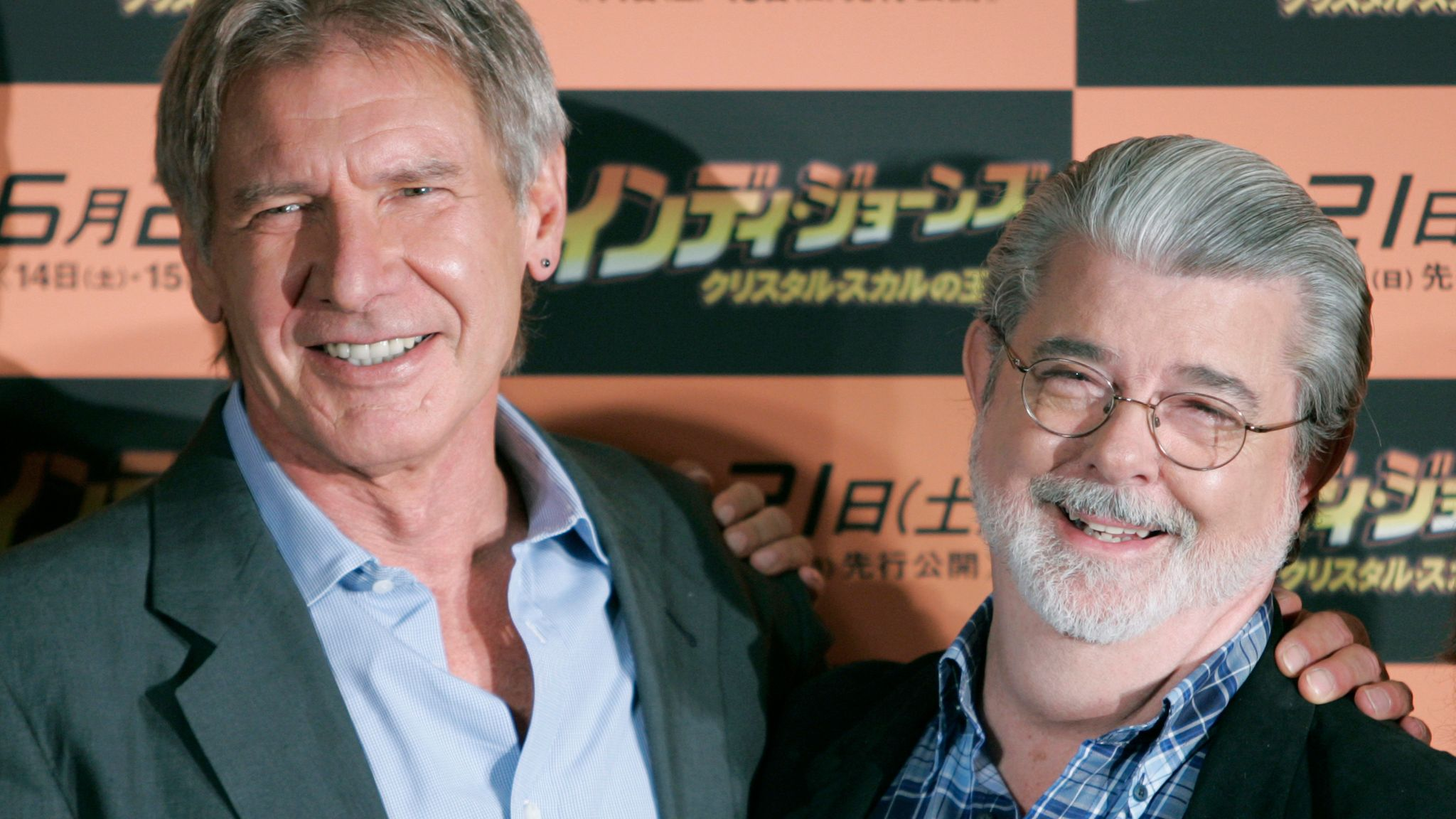 Harrison Ford, left, with Indiana Jones co-creator George Lucas