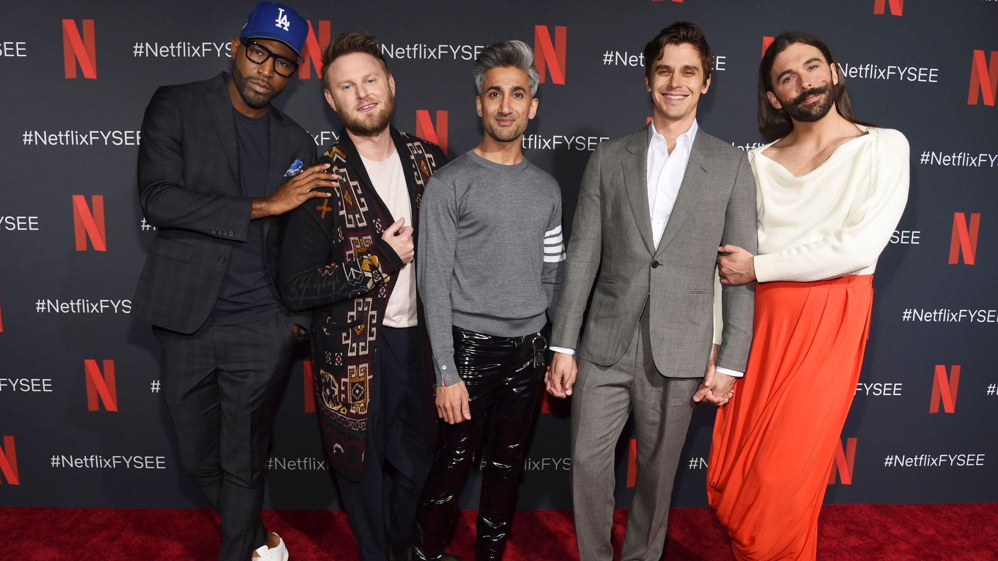 Karamo Brown, Bobby Berk, Tan France, Antoni Porowski and Jonathan Van Ness make up Queer Eye's Fab Five. Pic: Chris Pizzello/Invision via AP