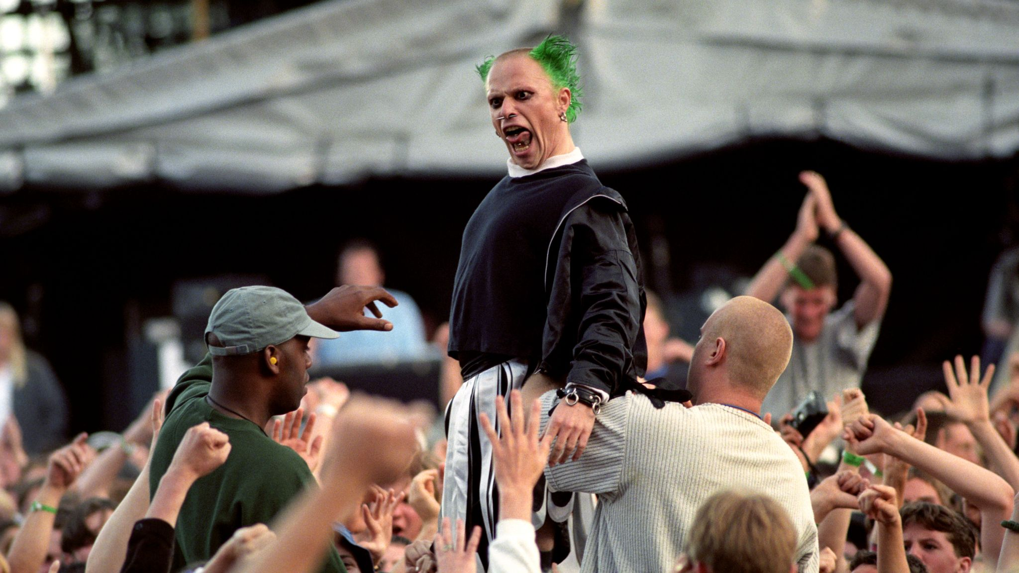 Keith Flint of The Prodigy performing at one of Oasis's famous Knebworth gigs in August 1996