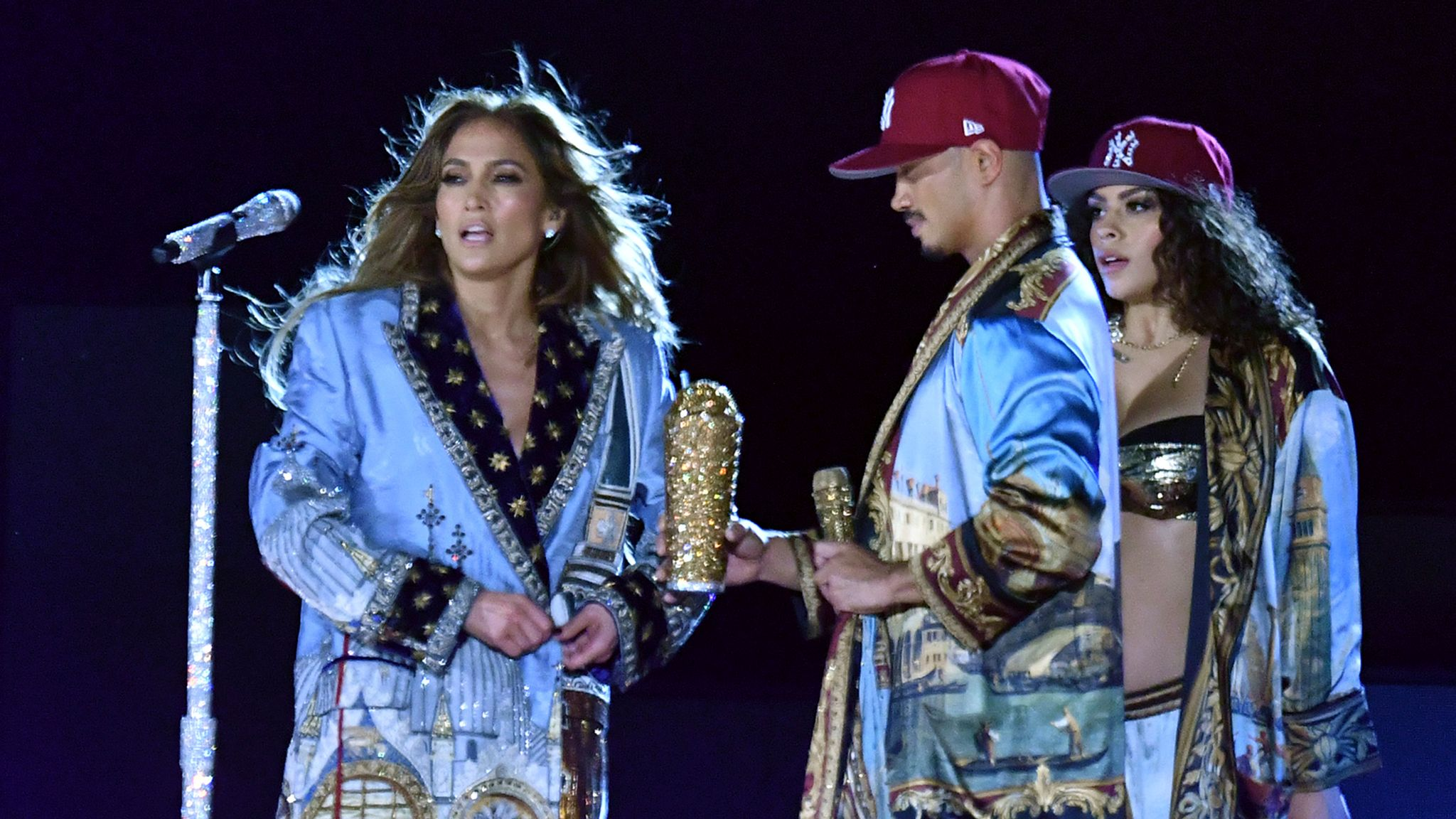 Jennifer Lopez appeared on stage with some bling as made up part of the star-studded line up in New York